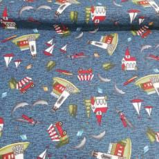 Patchworkstoff Quiltstoff *Country Journey* Small Novelty Summer dark blue Leuchtturm Delphine Baum HG2432-77