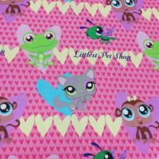 Kinderstoff Baumwollstoff Patchworkstoff *Littlest Pet Shop* Herz Frosch Affe Katze bunt H21-0001