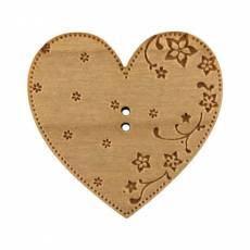 Knopf Holzknopf Herz groß graviert Zweilochknopf BLC074