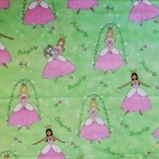 Kinderstoff Patchworkstoff Prinzessin Glitzer rosa lila hellgrün weiß KS21-0001