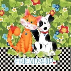 Patchworkstoff Quilt Art Panel *Friendship* Katze Hund AP6.71