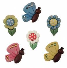 Knopf Knöpfe Kunststoffknopf *Butterflies & Daisies* Schmetterlinge Gänseblümchen pastell SF102