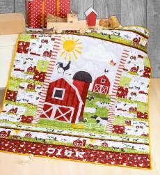 Materialpackung Kinderquilt *Meine kleine Farm* ca. 1,35 x 1,63 m Traktor Kuh Schwein Schaf Ziege Huhn Bauernhof Farm MP21-0183