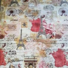 Baumwollstoff REST 90 cm x 110 cm Patchworkstoff *Paris* Eifelturm Champs-Elysees Vintage braun rot creme RK22