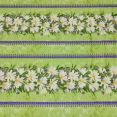 Patchworkstoff Streifenstoff REST 52 x 110 cm*Simple Pleasures* Blumen lila grün creme RJR0869