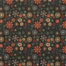 Korkstoff Nähkork Kork 18 x 25 Inch 46 x 63 cm Sallie Tomato Retro Floral Blumen schwarz rot blau creme  HCFRETR