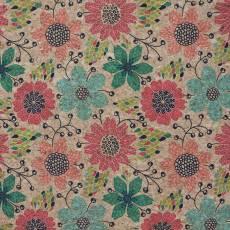 Korkstoff Nähkork Kork *Doodle Flora*l Pro Cork Blumen Ranken schwarz rot türkis grün braun HCFDDLF