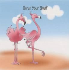 Patchworkstoff Quilt Art Panel *Flamingos, Strut Your Stuff* Flamingos Strand AP6.29