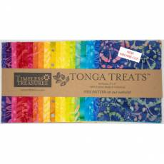 Stoffpaket Batik *Play* Tonga Treats 40 Stück 5x5 inch Regenbogenfarben TREAT-MINI