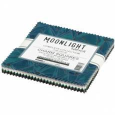 Charm Pack *Moonlight* 42 Squares 5 Inch Sterne blau schwarz grün beige weiß CHS-930-42