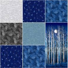 Stoffpaket *Midnight Woods* Bäume Blätter blau schwarz weiß MIWOFQ