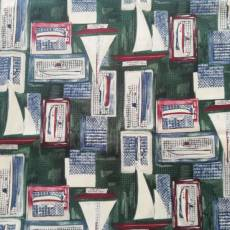 Patchworkstoff *Old Glory* Segelboot Boot dunkelgrün grün blau weiß rot BW1015