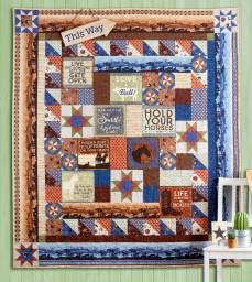 Materialpackung Quilt *Land of the Free* ca. 1,59 x 1,82 cm Amerika braun blau rot creme MP21-0192