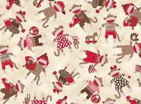 Patchworkstoff Kinderstoff *Monkey Around*Monkey Affe Äffchen Spielzeug rot creme braun  QT 22451E