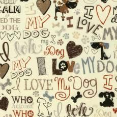 Baumwollstoff *I Love My Dogs* Hunde Schrift braun grau schwarz C5710-CRM