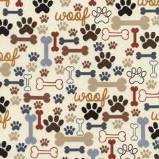 Baumwollstoff *Dogs Bones & Paws* Pfoten Knochen braun rot blau C2372-CRM