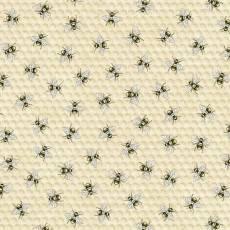 Baumwollstoff *Bees & Honeycomb* Bienen Waben gelb beige weiß schwarz C7173-NAT