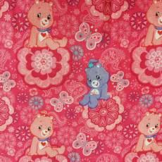 Patchworkstoff  REST 76 x 110 cm  *Care Bears* Bären Herzen Blumen pink blau rosa weiß RK 37