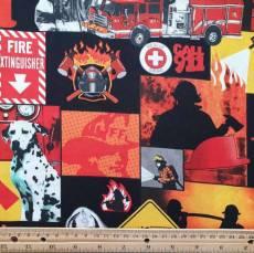 Baumwollstoff *Feuerwehr* Dalmatiner Feuerwehrauto Feuer rot gelb schwarz weiß  CP25841