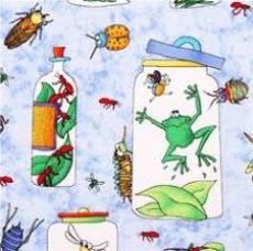 Patchworkstoff REST 64 x 110 cm *Bugaboo* Gläser Frösche Insekten Ameisen Libellen grün blau weiß rot NC 4812-41RK