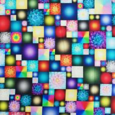 Baumwollstoff *KaBlooms* Blumen Karos rot blau grün gelb lila orange Q4539