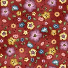 Patchworkstoff *Background Bouquet* Knopf Knöpfe Blumen rot gelb grün lila DC9429