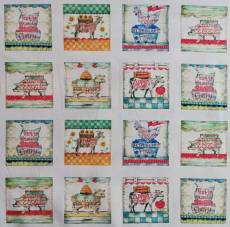 Patchworkstoff Quilt Panel Stoff *Fresh Picked Farm Stand* Schwein Huhn Kuh Ziege Hahn Schaf Obst rot weiß grün blau PB FRES-239-Mul