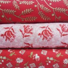 Angebot Sommer 21 Stoffpaket Stoffset 3er Set Blumen Ranken Blüten Blätter rot rosa creme SP21-0001