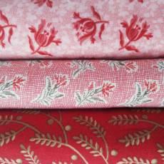 Angebot Sommer 21 Stoffpaket Stoffset 3er Set Blumen Ranken Blüten Blätter rot rosa creme SP21-0002