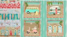 Angebot August Patchworkstoff Stoffpaket *Beach Travel* Bulli Bus Roller Kabine mint braun rot grün 3WF17336-S