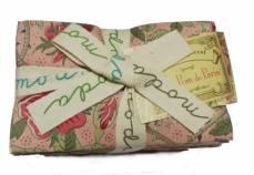 Stoffpaket *Pom Pom de Paris* Rarität 40 Stück je 23,5 cm x 55 cm Rosen Ranken Vögel Schmetterling rosa creme rot gelb 13570 F8
