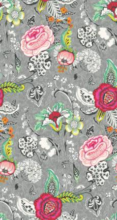 Patchworkstoff *Oriane Gris* Überbreite 160 cm Blumen Ranken Blüten grau rosa pink schwarz grün gelb LS8200