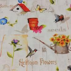 Patchworkstoff *Adalees Garden* Garten Blumen Vogelhaus Schmetterling Kanne Pflanztopf Vogel gelb blau rosa braun orange rot creme schwarz RR 4618-25898-Mul1