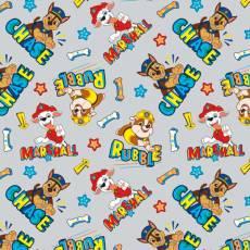 Patchworkstoff *Chase Marshall & Rubble* Paw Patrol Hund Dog Stern Knochen Pfeil grau rot gelb blau grün PW 4343-0C