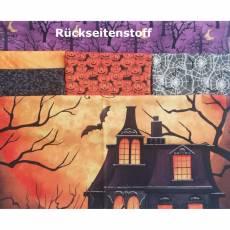 Stoffpaket *Halloween* 1 Panel 4 Stoffe Kürbis Spinne Netz schwarz orange lila grau   SP21-0011