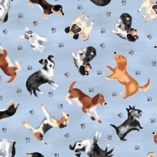 Baumwollstoff *Blue Dogs Allover* Hunde Border Collie Pfoten Dackel Schnauzer französische Bulldogge Sennenhund blaugrau braun weiß schwarz DOG-C7749 Blue