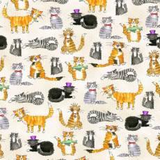 Patchworkstoff Flanell *Cats* Katzen orange grau schwarz creme N 1024-44