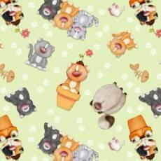 Patchworkstoff Flanell *Katzen* Katzen Pfoten orange grau schwarz weiß grün N 0963-66