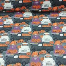 Patchworkstoff *Spooky Night* Halloween Kürbis Auto Transporter orange schwarz weiß lila 18115
