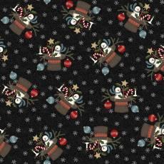 Patchworkstoff Flanell *Charcoal Santa Hat* Flannel Hut Schneemann Stern Kugel grau weiß rot blau schwarz F9933M-JK