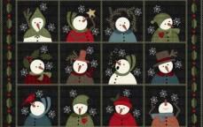 Patchworkstoff Flanell *Charcoal Snow Sqare* Flannel Schneemann Stern grau weiß rot blau schwarz F9930M-JK