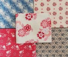 Fat Quarter Paket Set 45 cm x 55 cm Blumen Blüten creme rot blau pink Fat81