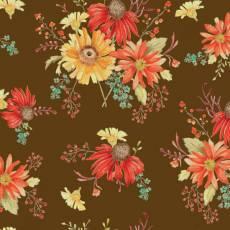 Patchworkstoff *Autumn Main Chocolate* Herbst Blumen orange gelb braun rot C10820R-CHOC