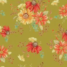 Patchworkstoff *Autumn Main Olive* Herbst Blumen orange gelb creme rot grün C10820R-OLIV