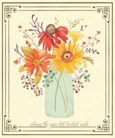 Patchworkstoff Panel *Adel in Autumn* 90 x 110 cm Herbst Blumen Vase gelb rot braun orange grün C10829R-PANEL