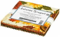 Charm Pack *Autumn Bouquet* 42 Squares 5 Inch Herbst Blumen orange gelb grün rot braun CHS-952-42