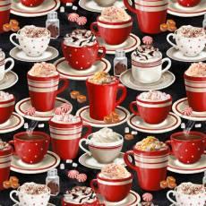 Patchworkstoff *Time For Hot Cocoa* Kakao Tassen Becher rot creme schwarz weiß WP 30523-392