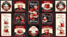 Patchworkstoff Panel *Time For Hot Cocoa* 60 x110 cm Tasse Becher Kakao Sahne rot schwarz weiß WP 30521-932