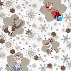 Patchworkstoff Flanell *Frozen Snowflakes* Flannel Elsa Olaf Anna Schneeflocken weiß grau blau 85190001B