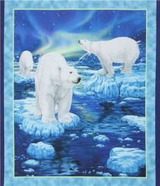 Patchworkstoff Panel *Eisbär* blau weiß türkis eisblau grau 90 x 110 cm QT21-0001P